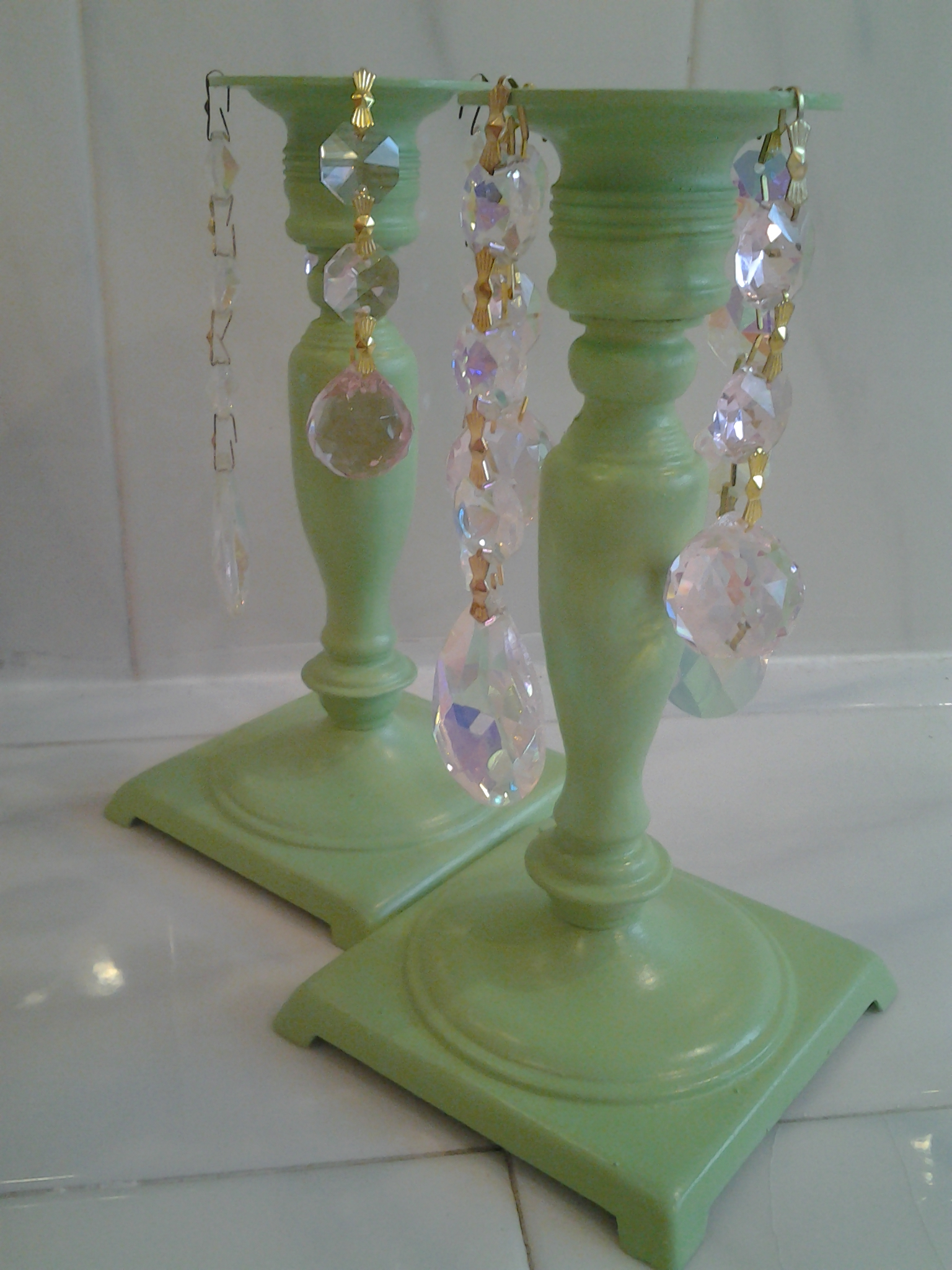 Brass candle holders shabby cottage chic chandelier crystals on luulla